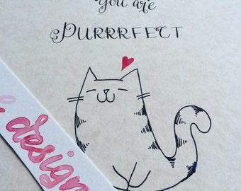 8x10 Set of 2/ Handwritten Calligraphy Cat Quote/ Origianl Cat Illustration/ for Cat Lovers