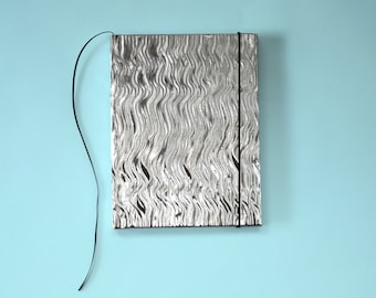 Metallic Silver Wave Hardcover Sketchbook, Notebook, Journal