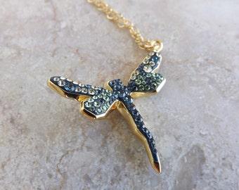 "Swarovski pave Dragonfly pendant ""Montana/Jonquil/Peridot"""