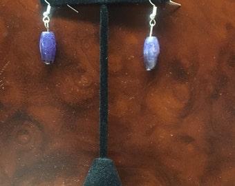 Purple dragon vein agate earrings