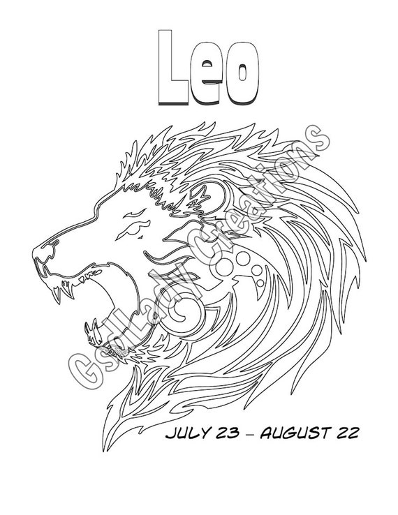 Leo zodiac star sign art print astrology print coloring for Leo coloring pages