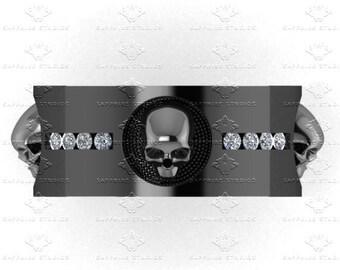 luna de saturno mens sterling silver mens skull wedding band - Mens Skull Wedding Rings