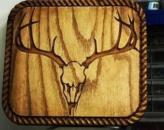 Deer Skull in Oak Ply with Rope border