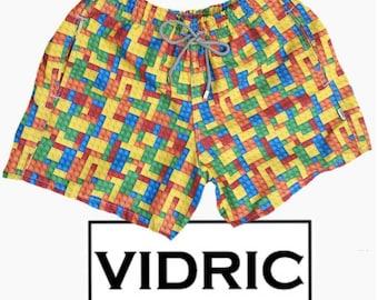 VIDRIC Mens Blocks Swim Trunks