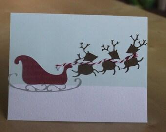 Santa's Sleigh and Reindeer Card