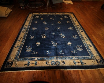 RARE Chinese Peking Oriental 9ft x 8 ft 19c Rug Carpet Blue Excellent Condition