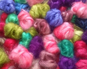 hand dyed Mohair top nuggets, 50g, hand dyed