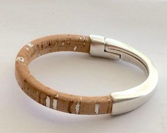 BeauxDanglezDesign Banglez Collection- Regaliz Cork with metallic flecks Bangle Bracelet with 1/
