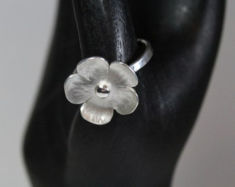 Boho Woodland Flower Ring Sterling Silver Handmade Forged Hammered