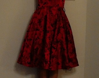 Red, long, gothic dress