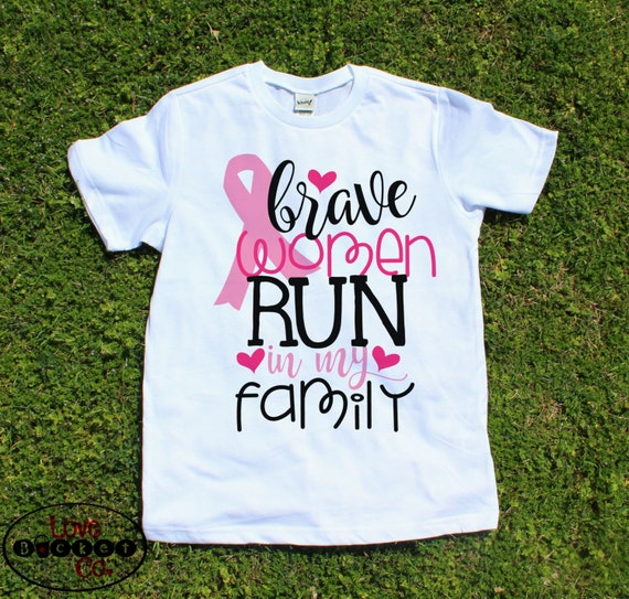 Breast Cancer Shirt, girls breast cancer shirt, cancer awareness, baby shower gift, cancer gift, brave women run in my family, pink ribbon