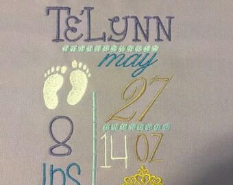 Birth Announcement Baby Blanket