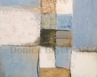Original Abstract, Handmade, Textured, Contemporary Painting - Shades of Blue