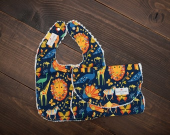 Baby Bib and Burp cloth set - Michael Miller - Origami Oasis Pride Navy - Jungle Animals - Chenille - Gender Neutral - Boy - Girl