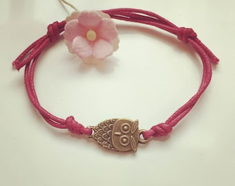 OWL bracelet in pink, waxed cotton, vintage, statement, blogger, owl