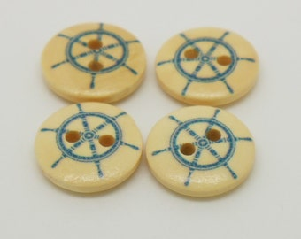 15mm round ship wheel button with 2 holes - pack of 4