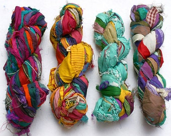 Recycled Sari Silk Ribbon Hank - multicolor