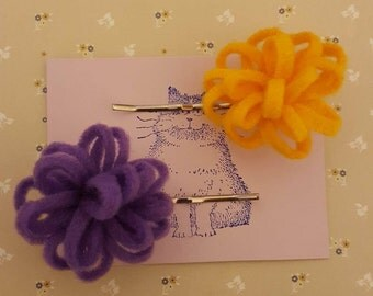 Handmade set of two felt flower bobby pin hair clips - choice of colour
