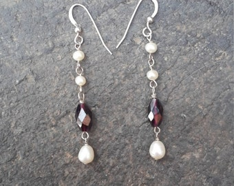 ON SALE. Faceted Garnet & Fresh Water Pearl 925 sterling silver dangling dangle drop Earrings.Mothers day gift. Birthday gift.Bridal earring