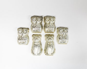 6 Brocante tins-Set of 6 Bakeware-OWL and cat Cake Pan/mold-kitchen decoration