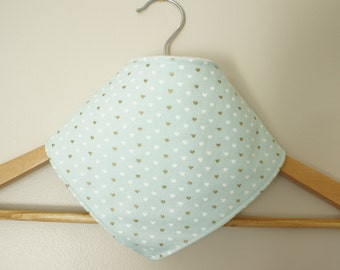 Bandana bib, Mint/gold hearts