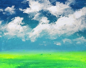 Original Acrylic Abstract Painting. Green Field and Sunny Clouds. Free shipping.