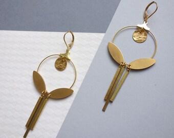 Round earrings to pendants in brass