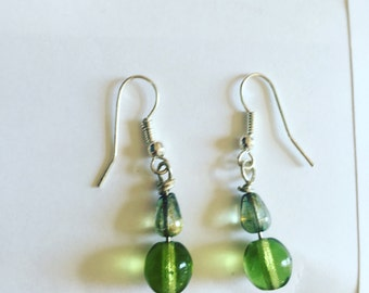 Handmade upcycled green glass beaded earrings