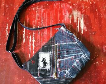 Black cat denim pouch bag
