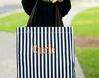 Halloween Tote, Black Stripe Halloween Tote, Personalized Halloween Bags, Personalized Tote, Embroidered Tote, Orange Dot Tote