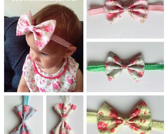 Vintage Floral Baby Girl Headbands Fabric Bow Toddler Girl Newborn Headband
