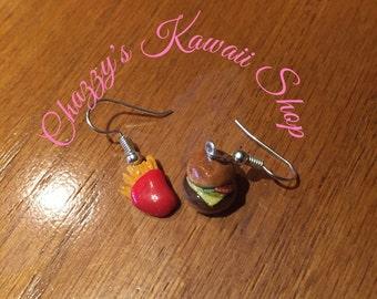 Burger & Fries Kawaii Earrings