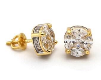 14K Gold 3D Button Earrings