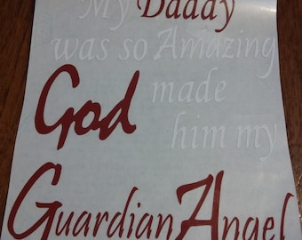 Guardian Angel vinyl car decal customizable name and color