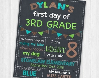 3rd Grade Back To School Sign | Printable Chalkboard Sign