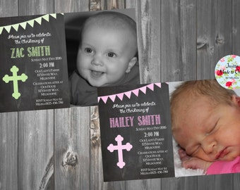 Chalkboard Christening Baptism Invitation Boy Girl Pink Green Blue with Bunting Flag, photo and cross
