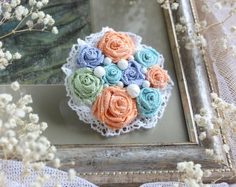 Free shipping! Multicolored textile brooch Colorful textile brooch Fabric brooch Flower textile brooch Textile pin Handmade textile brooch