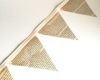 Vintage Book Page Bunting