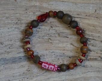 Beads Bracelet red brown 2143