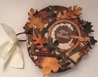 Fall Leaf Round Chipboard album