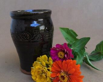 Celedon Vase  with Vine and Rabbit - Stoneware