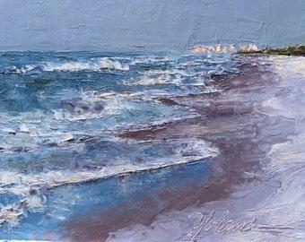 "Original oil painting, palette knife, beach scene on 8""x10"" gessobord."