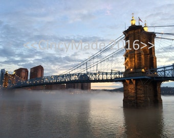 A Foggy Roebling Bridge at Dusk in Cincinnati, Ohio (Download)