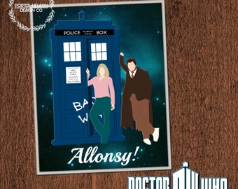 Porter-Nelson Design Co. - Doctor Who Tenth Doctor and Rose with Tardis 8x10 Digital Art Print