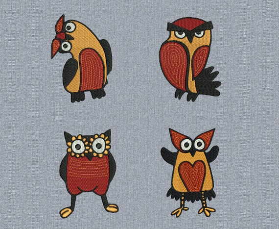 Owl pack - 4 pcs - Machine embroidery design - 2 sizes for instant download