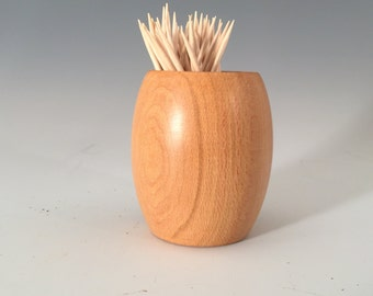 Turned sycamore wood toothpick holder