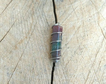 Mini Sterling Silver Wrapped Rainbow Fluorite Point