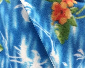Island Floral Printed Polar Fleece Fabric - By the Yard - Blue