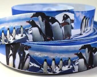 "1"" Penguins in the Snow - Print Grosgrain Ribbon"