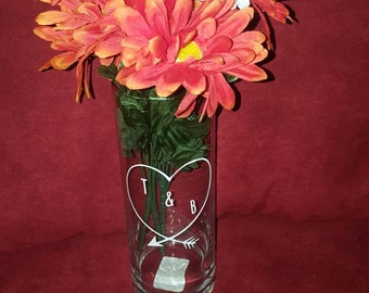 Couples initial vase